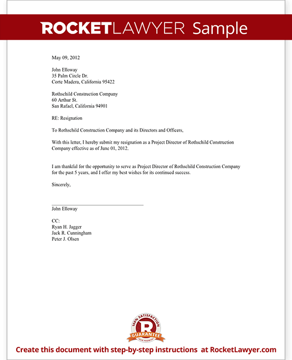 Director Resignation Letter Template with Sample – Letter Asking for Resignation