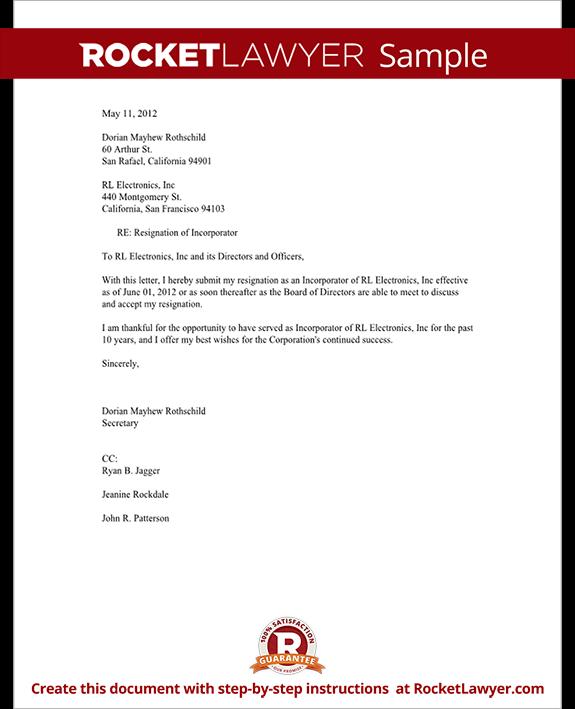 formal letter of resignation