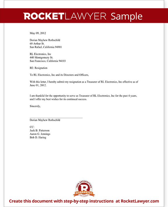 Officer Resignation Letter Ceo Cfo Etc Template With