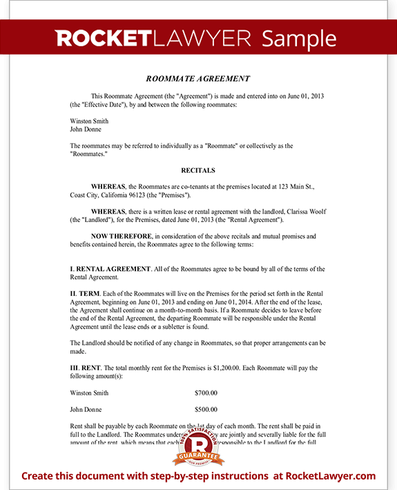 Roommate Contract Room Rental Agreement – Roommate Lease Agreement