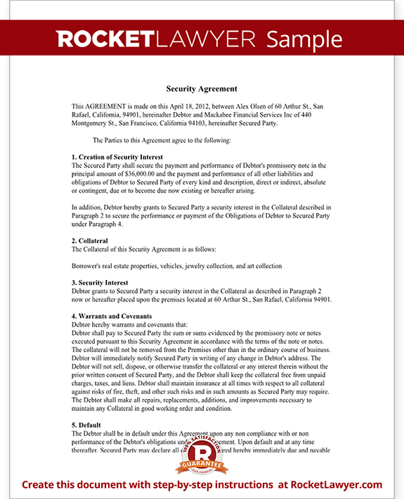 Security agreement form ucc security agreement template for Security contracts templates