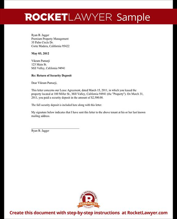 Deposit Return Letter To Tenant from www.rocketlawyer.com