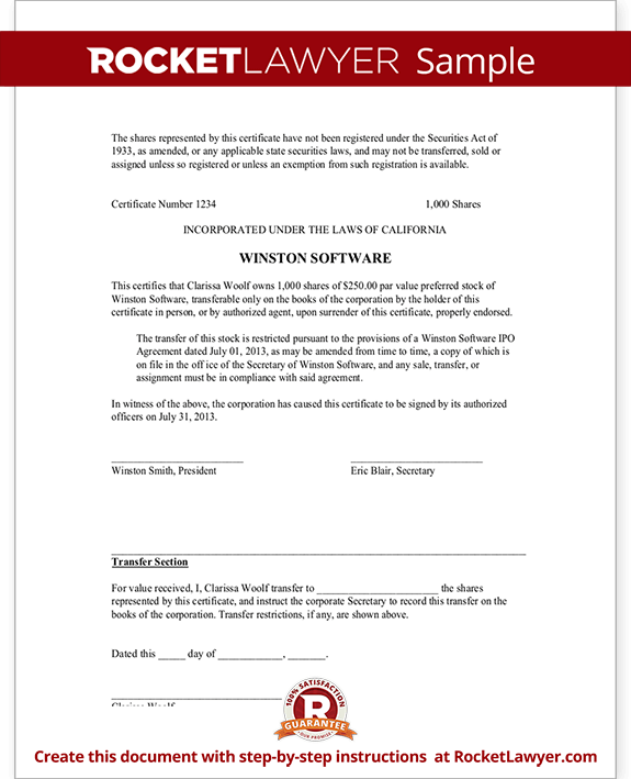Corporate Share Certificate Template – Blank Stock Certificate Template