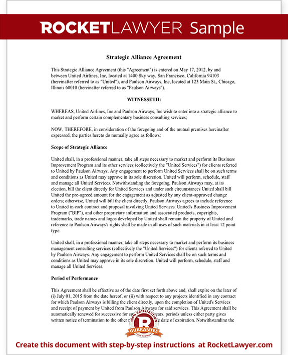 Strategic Alliance Agreement Template Strategic Parnership – Partnership Agreement Between Two Individuals