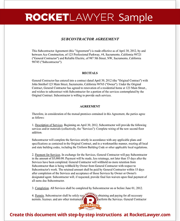 standard subcontract agreement template - subcontractor agreement contract form rocket lawyer