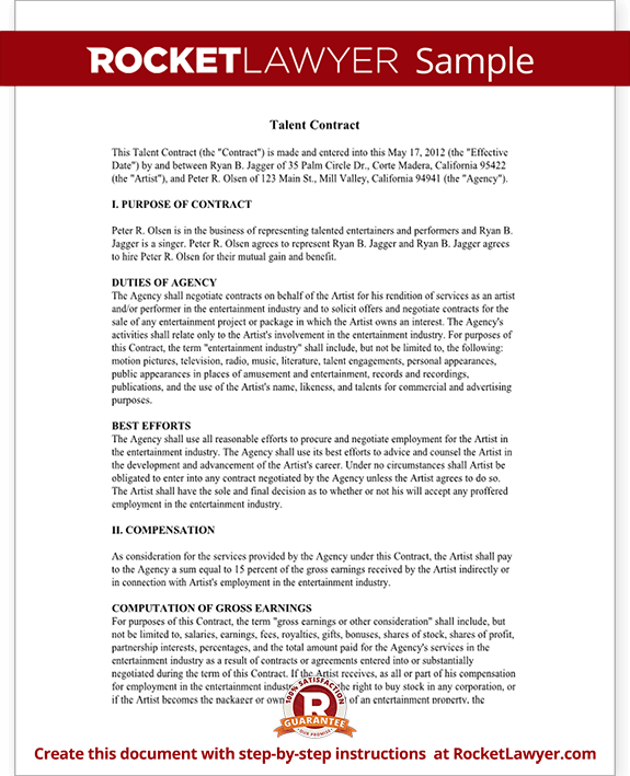 Talent agreement talent contract template with sample for Acting contract template