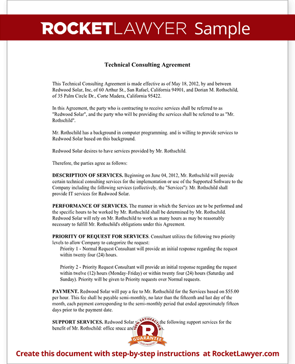 Consulting Agreement for Technical Services Contract Template – Consulting Service Agreement