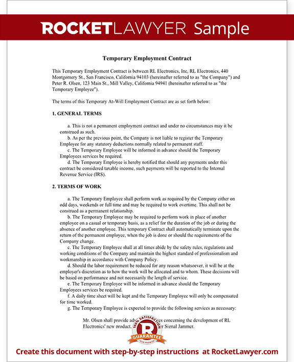 Temporary employment contract agreement template with for Permanent contract of employment template