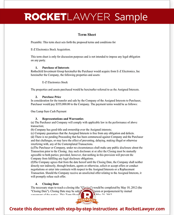 Term sheet template sample term sheet rocket lawyer for Deal review template