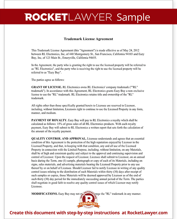 Trademark license agreement form create a template with for Product license agreement template