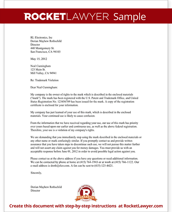Trademark Cease And Desist Letter Template Form with Sample – Cease and Desist Template Trademark