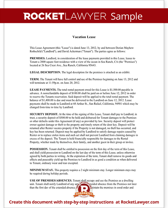 Short Term Rental Lease Vacation Lease Agreement Template – Sample Short Term Rental Agreement