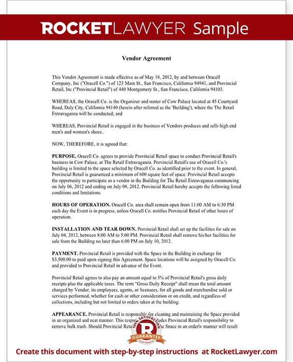 Vendor Contract Template Create a Vendor Agreement with Sample – Simple Vendor Agreement Template