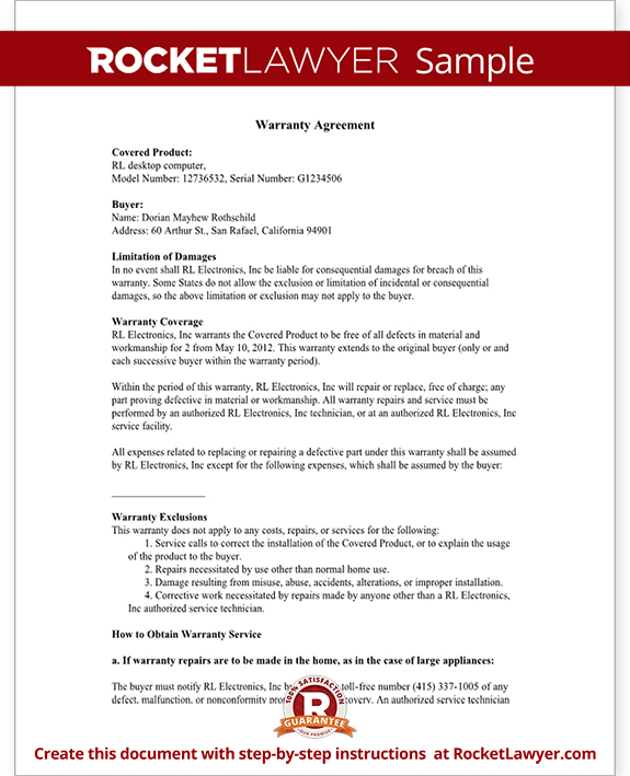 Warranty agreement template warranty agreement with sample for Workmanship guarantee template