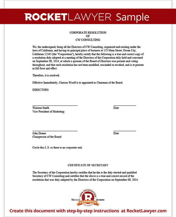 Corporate resolution for Letter of resolution template