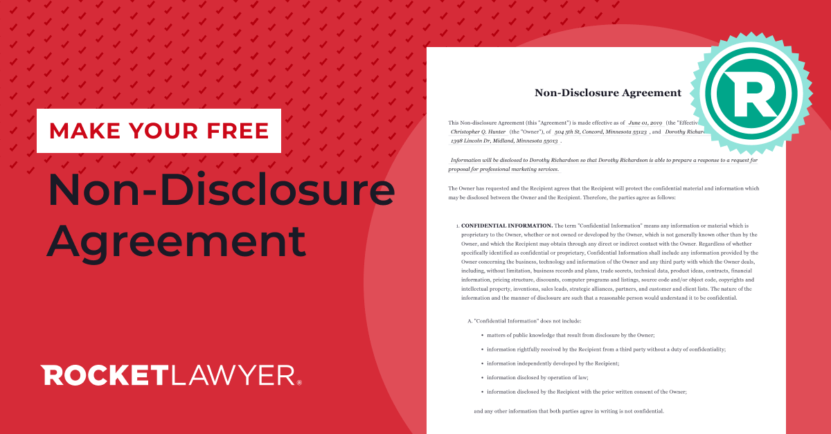 Free Non Disclosure Agreement Free To Print Save Download