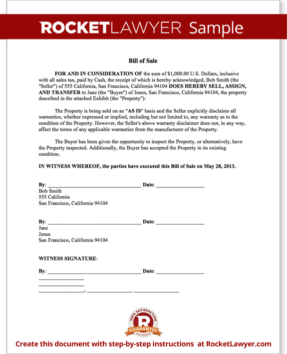 Bill of Sale Form - Printable Car & Vehicle Bill of Sale Template