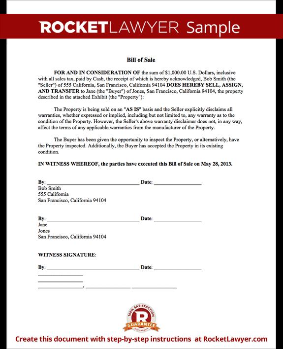 bill of sale car form