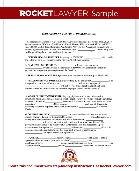 Independent Contractor Agreement Contract Form – Independent Agreement Contract
