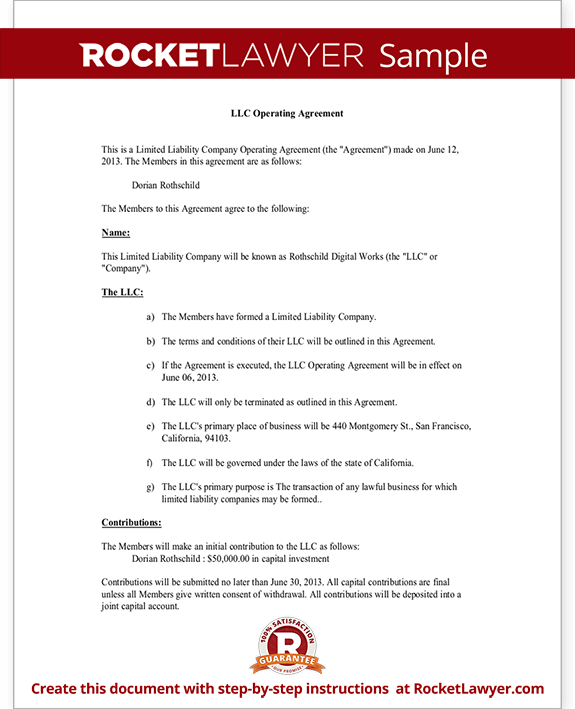LLC Operating Agreement Sample Template – Llc Operating Agreement