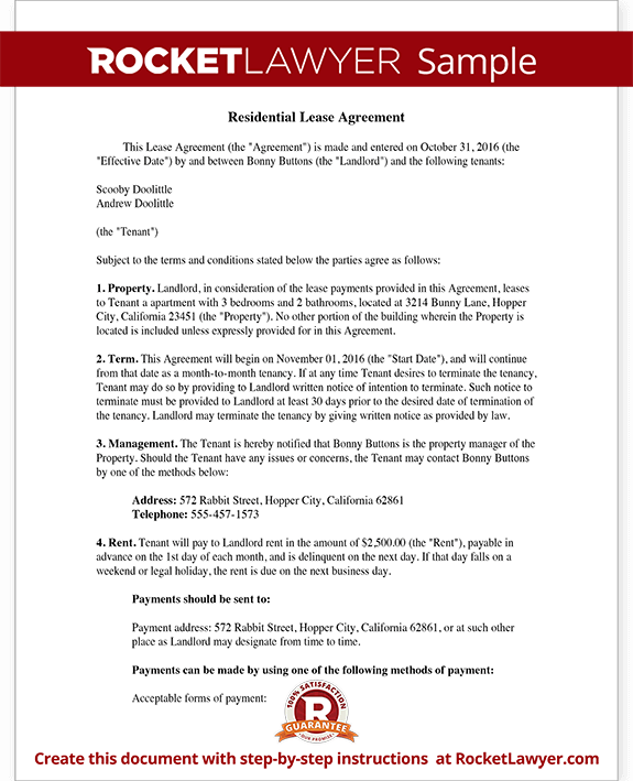 Lease Agreement Free Rental Agreement Form Contract – Sample of a Lease Agreement