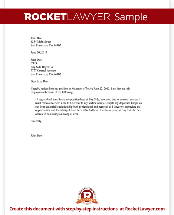 Resignation Letter Sample - Employee Resignation Form | Rocket Lawyer
