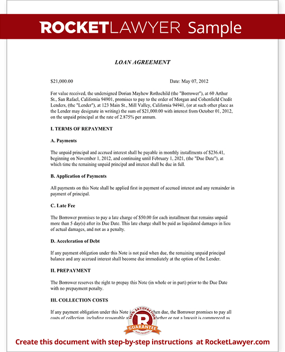 Loan Agreement Template Loan Contract Form with Sample – Interest Free Loan Agreement Template