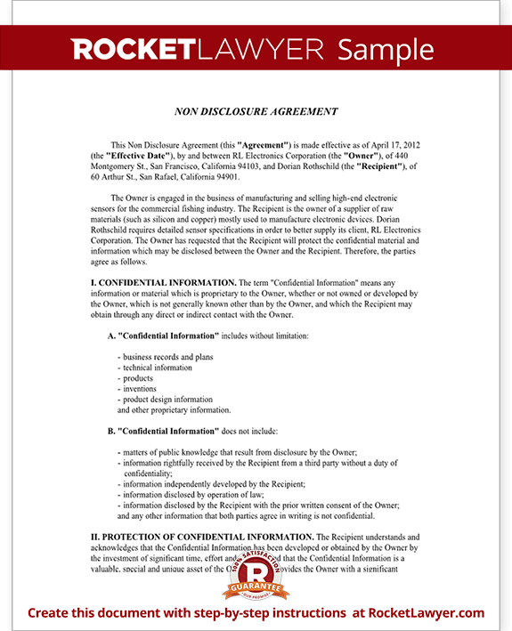 Confidentiality Agreement NonDisclosure Agreement NDA – Sample Non Disclosure Agreement