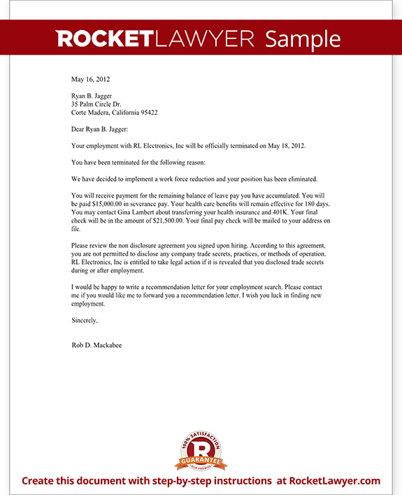 Termination Letter for Employee Template with Sample – Format for Termination Letter
